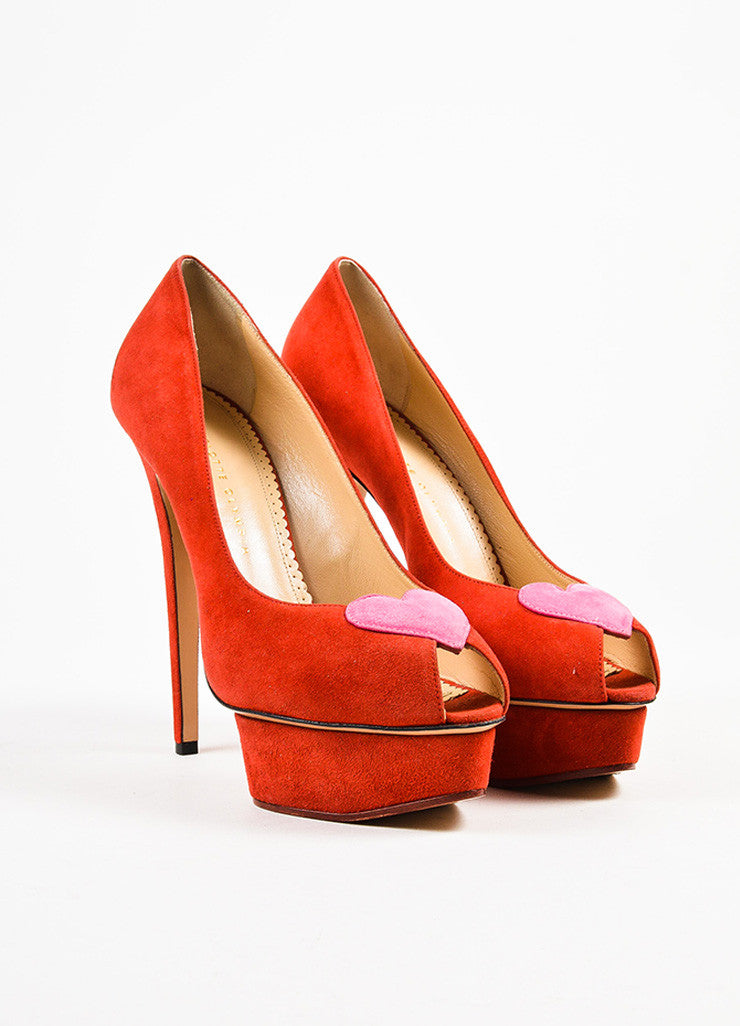 "Charlotte Olympia Red and Pink Suede ""Delphine"" Heart Peep Toe Platform Heels Frontview"