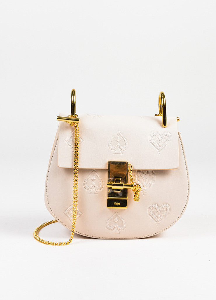 "Chloe NIB Limited Edition Blush Pink Leather ""Mini Drew"" Poker Shoulder Bag front"