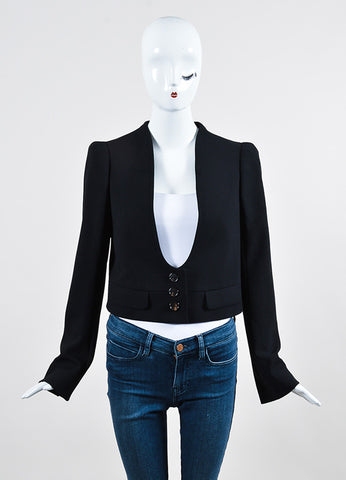 Black Chloe Collarless Scoop Neck Button Cropped Blazer Jacket Frontview