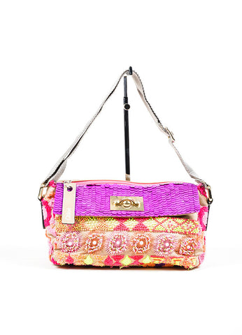 Beige and Multicolor Chloe Linen and Leather Embroidered Sequined Shoulder Bag Frontview