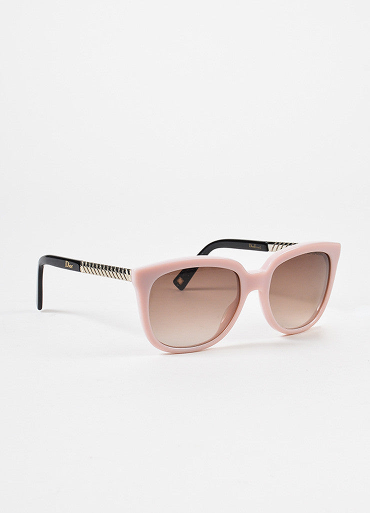 "Christian Dior Pink Gold Tone ""Dior Ever 2"" Sunglasses Front"