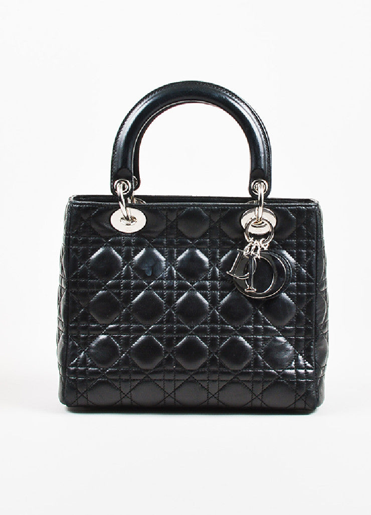 "Christian Dior Black Leather Cannage Quilted ""Lady Dior Medium"" Tote Bag Frontview"