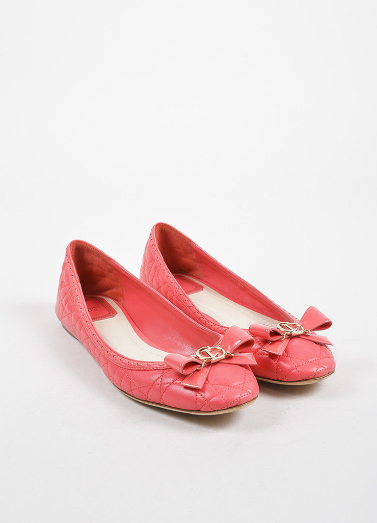 "Christian Dior Coral ""Cannage"" Leather Bow Ballerina Flats Frontview"