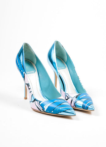 "Metallic Blue Painted Leather Christian Dior ""Cherie"" Pumps Frontview"