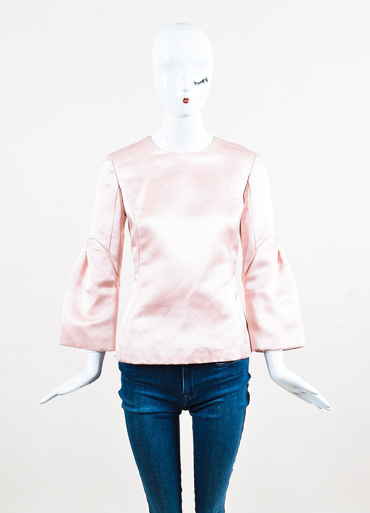 Light Pink Christian Dior Satin Silk Pleated Sleeve Blouse Front