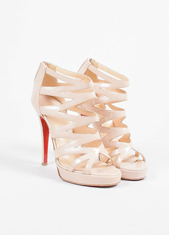 "Christian Louboutin Beige Nude Patent Leather Strappy ""Fernando"" Pumps Frontview"