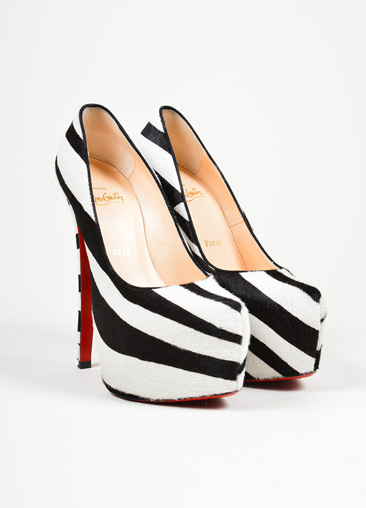 "Black and White Christian Louboutin Pony Hair Zebra Print ""Daffodile 160"" Pumps  Frontview"