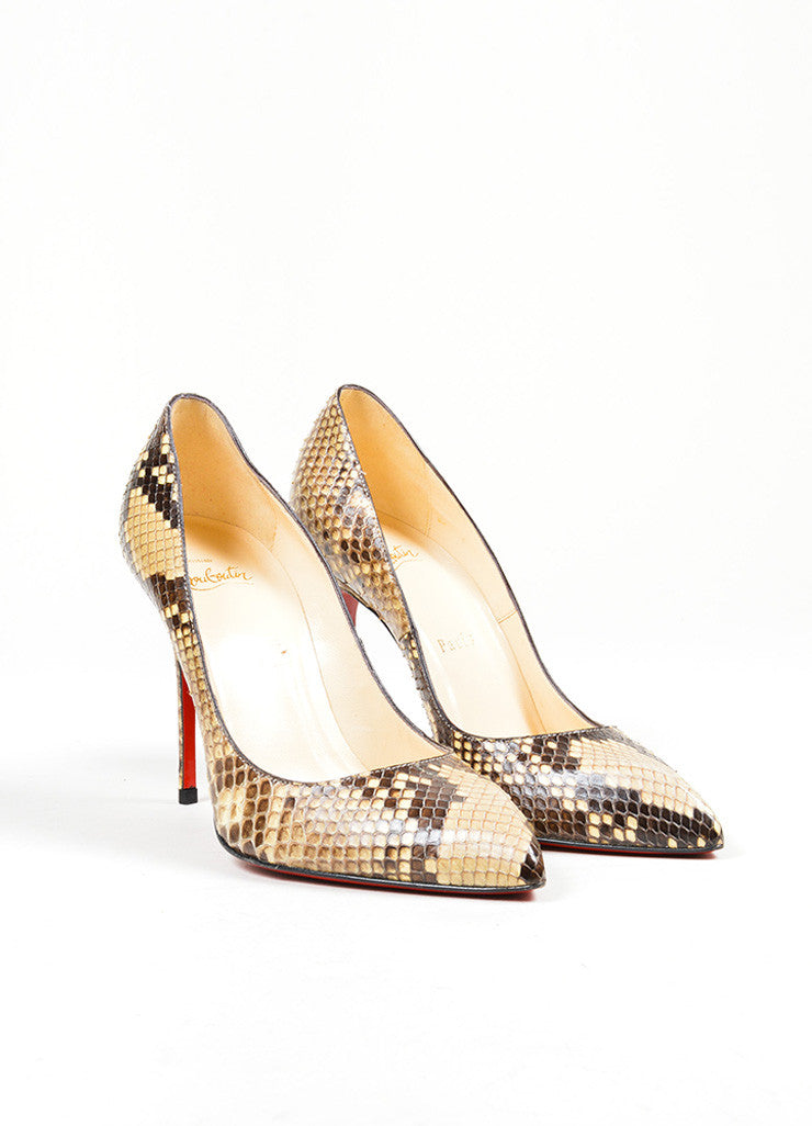 "Brown and Cream Christian Louboutin Snakeskin Leather ""Decollete"" Pumps Frontview"
