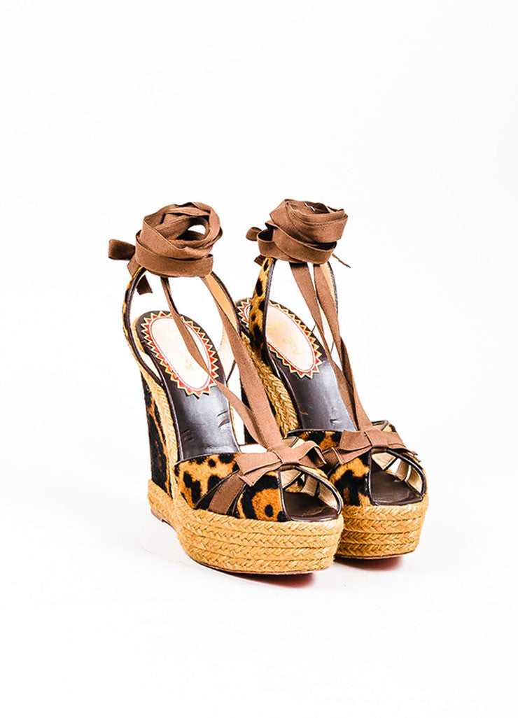 "Christian Louboutin Leopard Ponyhair ""Isabelle"" Wedges Front"