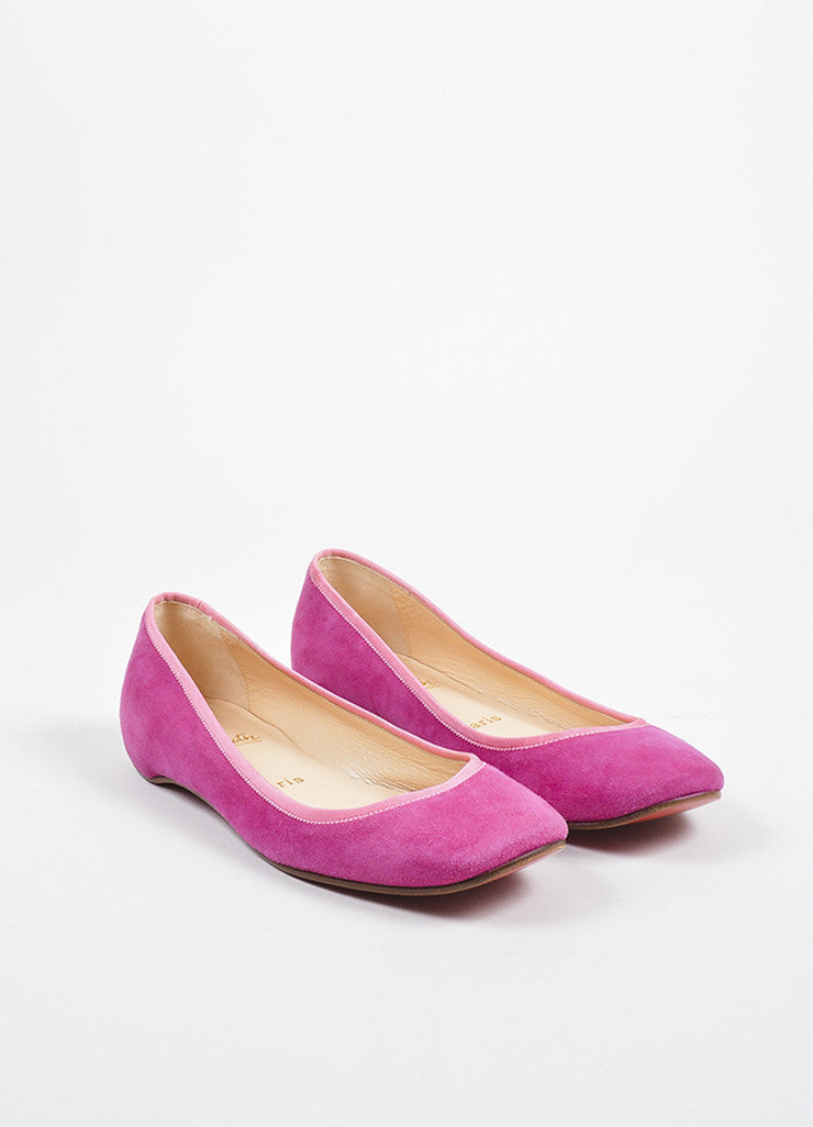 •ÈÀChristian Louboutin Fuchsia Pink Suede Grosgrain Trim Square Toe Flats Frontview