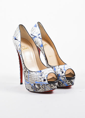 "Black and Blue Python Christian Louboutin ""Lady Peep Vulcano"" Pumps Frontview"