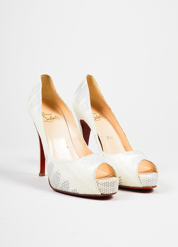 "White and Grey Christian Louboutin Watersnake Leather ""'Very Prive"" Pumps Frontview"