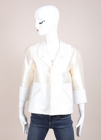 Creatures of the Wind Cream and White Satin and Silk Blend Leather Trim Jacket Frontview
