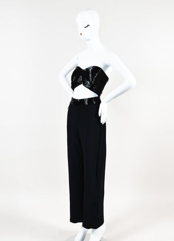 "Cushnie Et Ochs Black Crepe Beaded Cutout Detail ""Liza"" Jumpsuit Sideview"