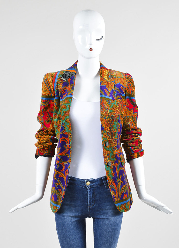 Red, Green, and Purple Dolce & Gabbana Silk and Cotton Velvet Paisley Blazer Frontview
