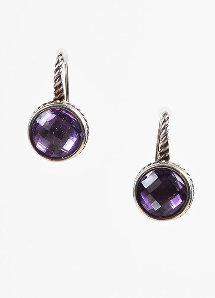 "David Yurman Sterling Silver and Amethyst ""Color Classics"" Drop Earrings Frontview"