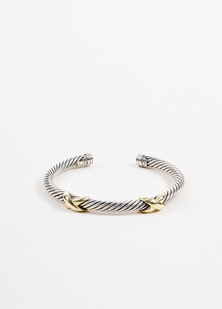 "David Yurman Sterling Silver and 14K Yellow Gold ""Double X"" 5mm Cable Bracelet Frontview"