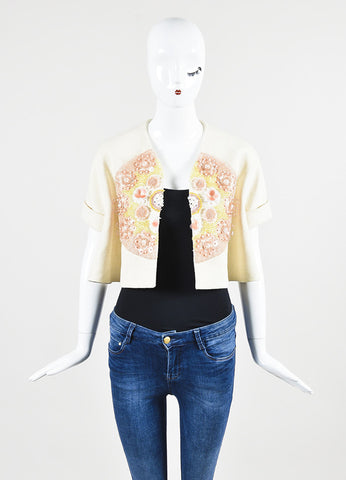 Delpozo Cream Multicolored Hemp Embellished Short Sleeve Cropped Jacket Frontview
