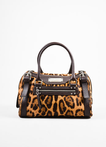 "Dolce & Gabbana Brown and Tan Leopard Print Pony Hair ""Miss Easy Way"" Shoulder Bag Frontview"