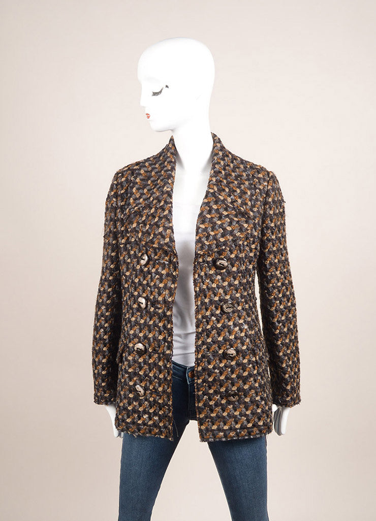 Dolce & Gabbana New With Tags Black, Brown, and Grey Wool Woven Long Sleeve Jacket Frontview