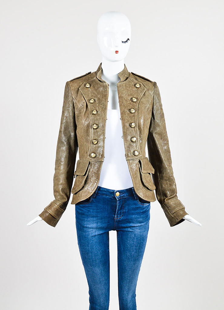 Dolce & Gabbana Taupe Brown Leather Military Double Breasted Jacket Frontview