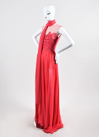 Coral Pink Elie Saab Silk Chiffon Bead Sequin Embellished Gown Sideview
