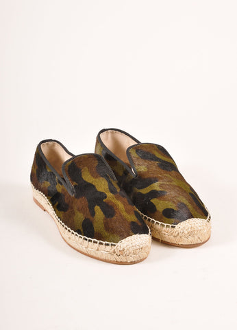 Elyse Walker New In Box Camo Print Pony Hair Espadrille Flats Frontview