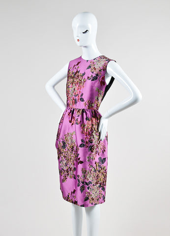 "Erdem Violet and Red Metallic Floral Brocade ""Uta"" Sleeveless Dress Sideview"