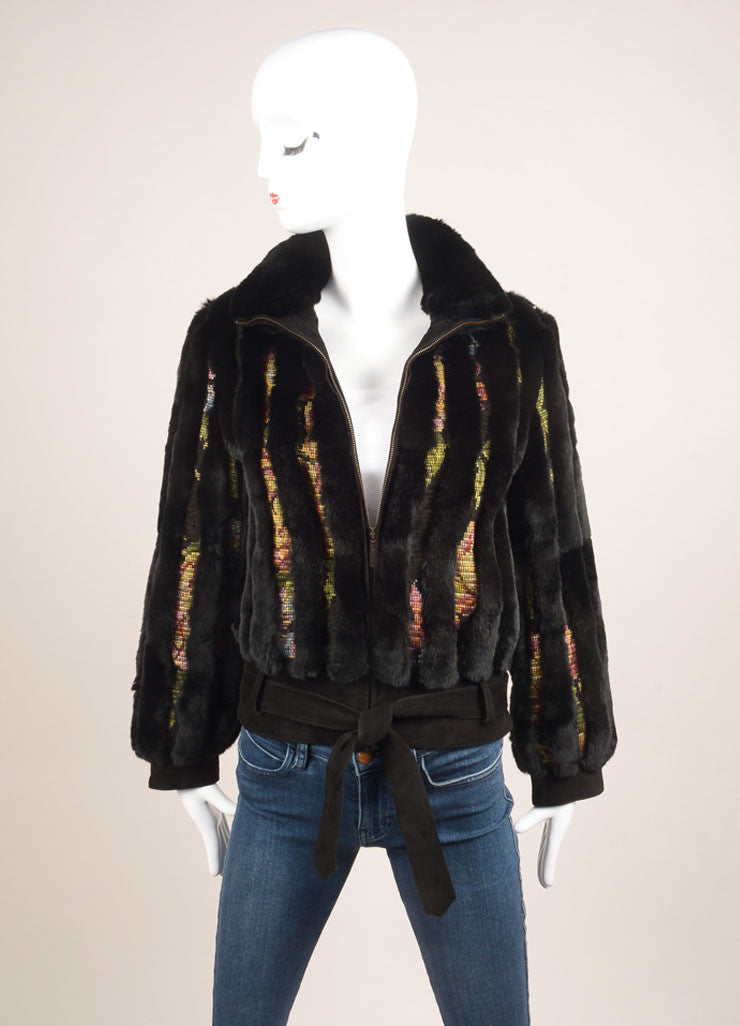 Etro Black and Multicolor Fur Woven Striped Zip Jacket Frontview