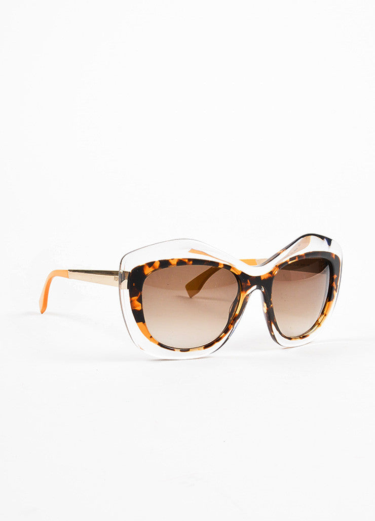 Fendi Brown and Clear Tortoise Shell Oversized 'FF 0029 S' Cat Eye Sunglasses Sideview