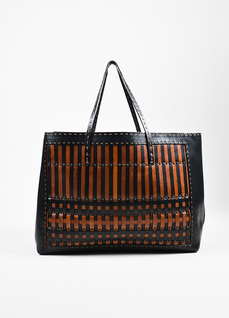 Fendi Selleria Black and Brown Woven Leather Shopper Tote Bag Frontview