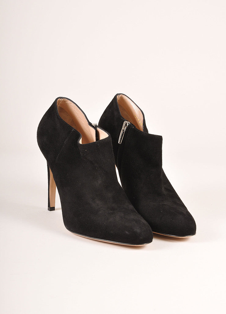 Gianvito Rossi Black Suede Heeled Booties Frontview