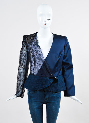 Navy Blue Giorgio Armani Privé Satin and Floral Lace Sequin Embellished Jacket Frontview