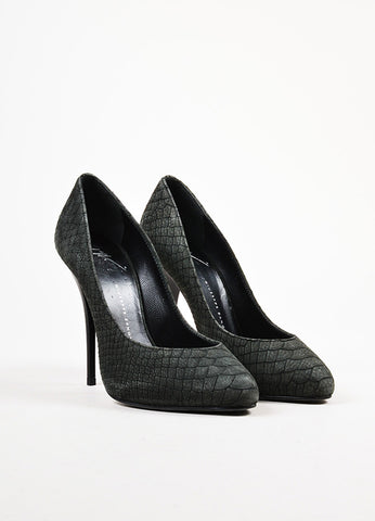 Giuseppe Zanotti Black Snakeskin Embossed Leather High Heel Pumps Frontview
