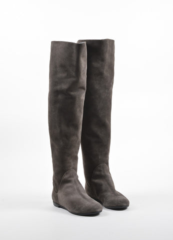 Giuseppe Zanotti Grey and Silver Suede Zippered Over the Knee Boots frontview