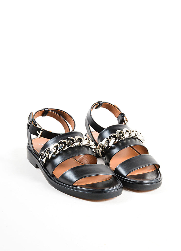 Givenchy Black Leather Silver Tone Chain Link Flat Sandals Frontview