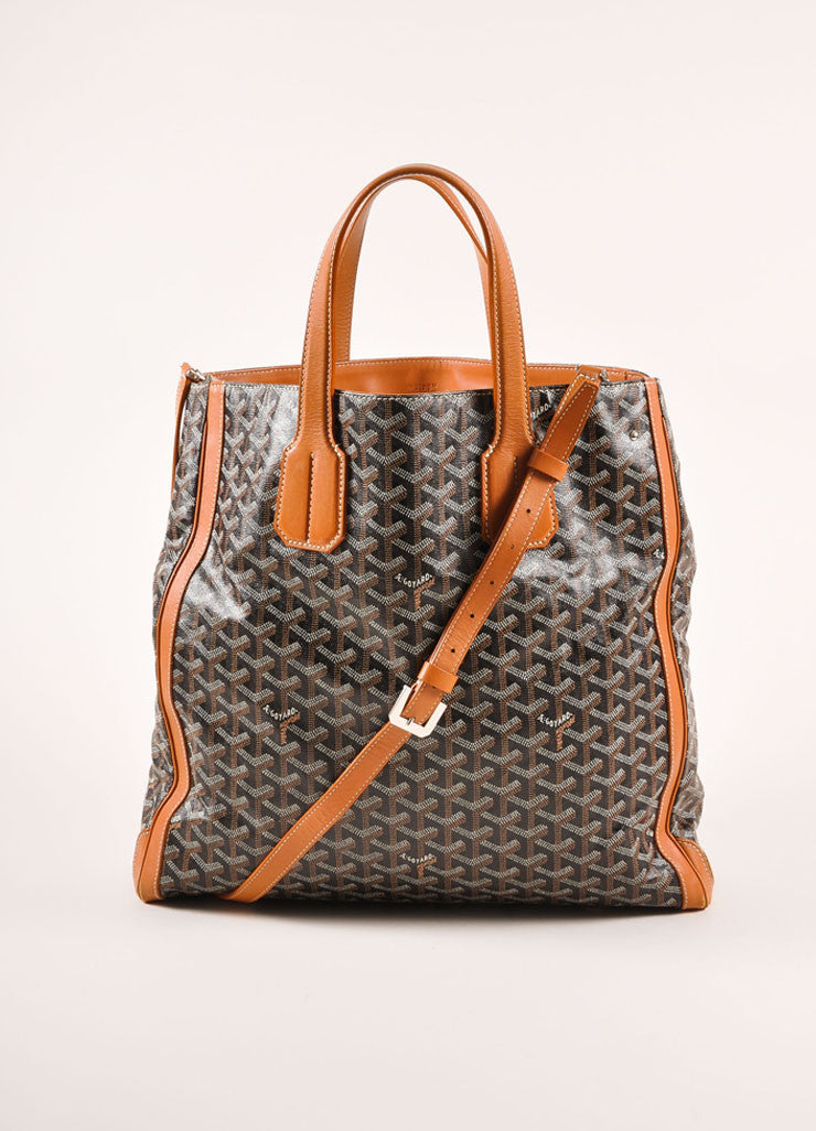 "Goyard Tan, Black, and White Canvas and Leather Chevron Print ""Voltaire"" Tote Bag Frontview"