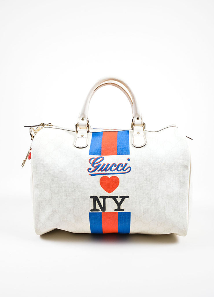"Cream, Blue, and Red Gucci Coated Canvas Monogram Stripe ""Loves NY"" Boston Bag Frontview"