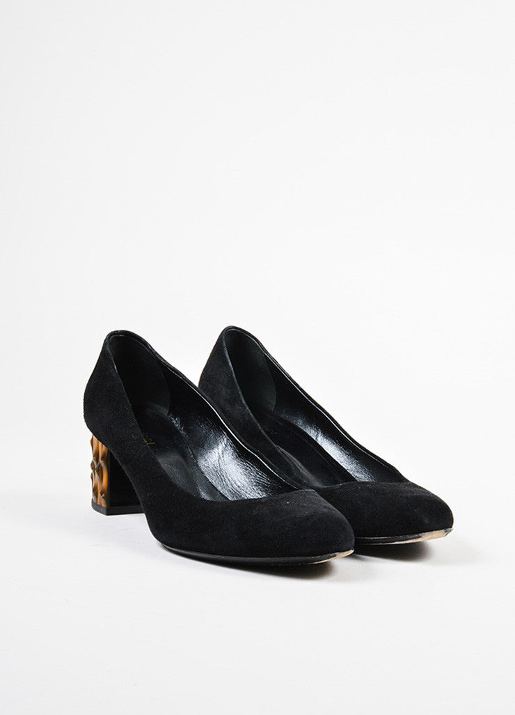 "Black Gucci Suede Leather Bamboo Heel Round Toe ""Dahlia"" Pumps Frontview"