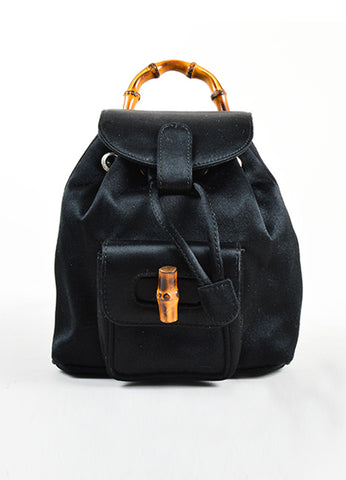Gucci Black Satin Bamboo Embellished Flap Mini Backpack Frontview