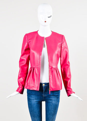 Gucci Hot Pink Leather Collarless Peplum Jacket Frontview