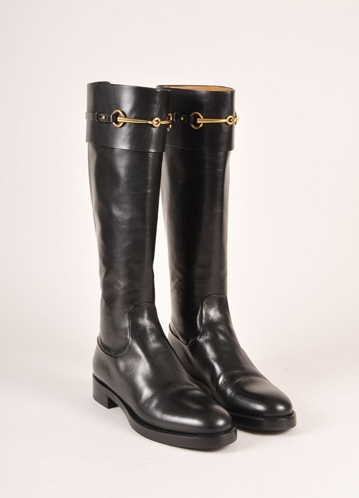"Gucci New In Box Black Leather and Gold Toned Horse Bit ""Jamie"" Riding Boots Frontview"