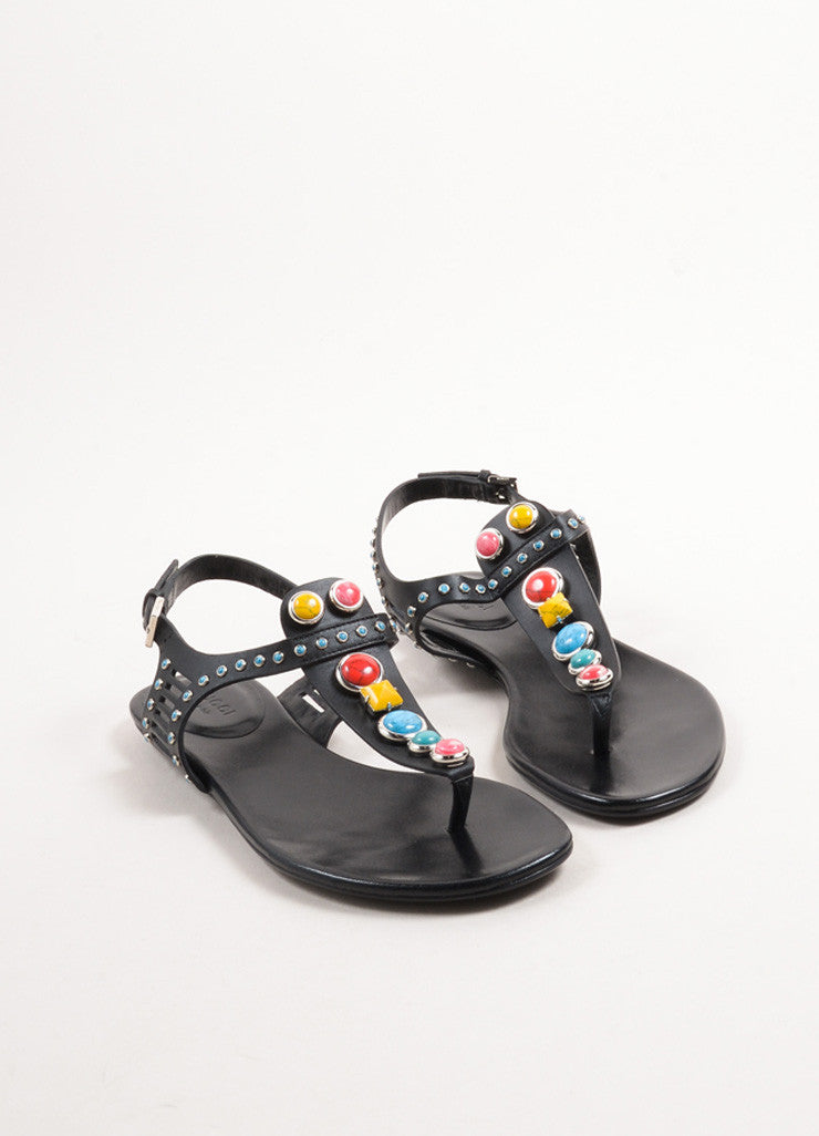 "Gucci Black and Multicolor Stone and Leather ""Tribal"" Thong Sandals Frontview"