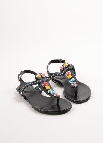 Gucci Black Leather and Multicolor Stones Tribal Thong Sandals Frontview