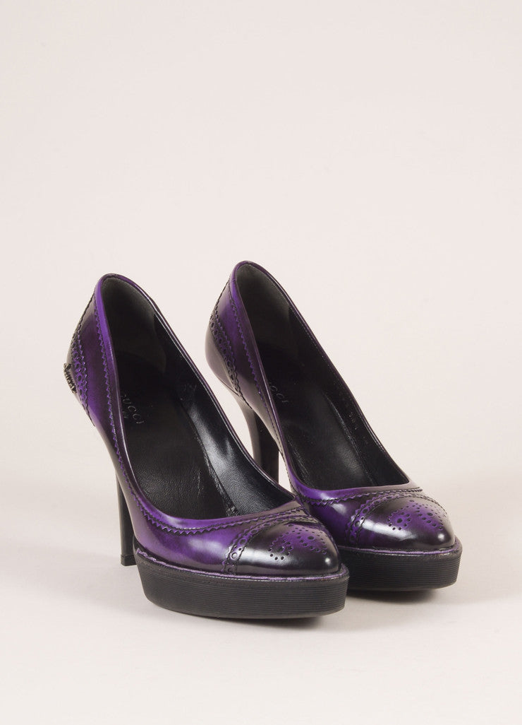 Gucci Purple and Black Leather Spectator Brogue Platform Pumps Frontview