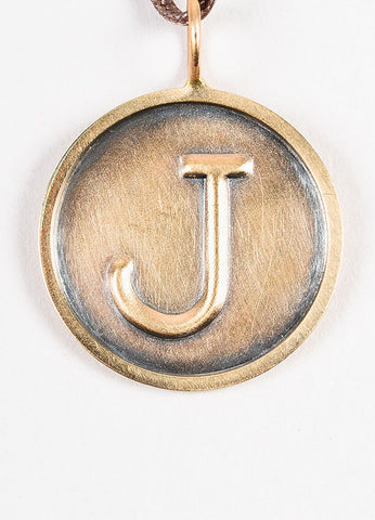 "Heather B. Moore Antiqued 14K Gold ""J"" Initial Disc Charm Pendant Frontview"