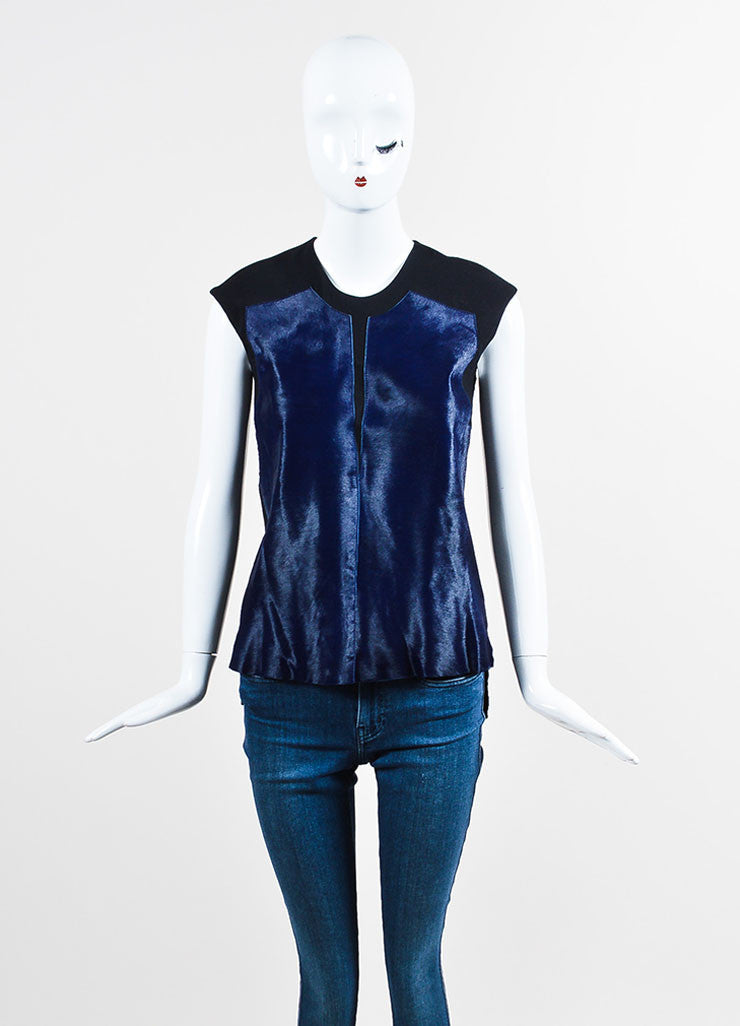 Helmut Lang Navy and Black Pony Hair and Wool Slit Back Sleeveless Top Frontview