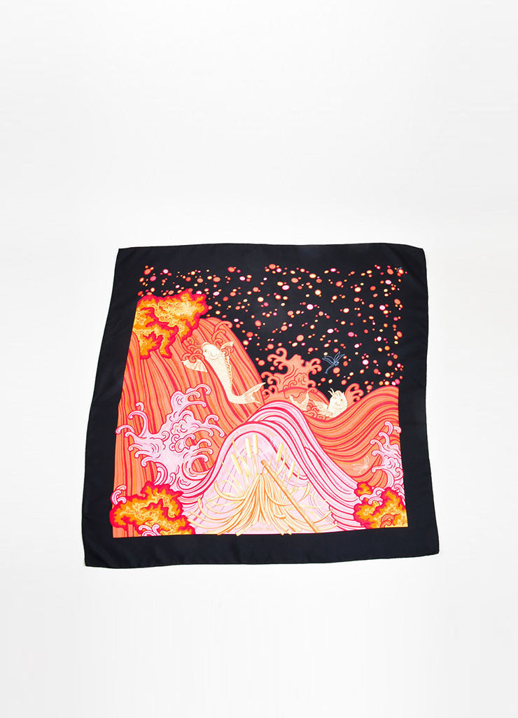 "Hermes ""A Contre-Courant"" Silk Pink, Orange, and Black Scarf Frontview"