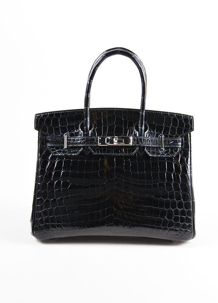"Hermes Rare Black SHW Shiny Nilo Crocodile Leather 30 cm ""Birkin"" Bag Frontview"