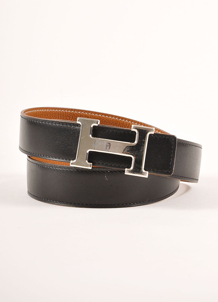 "Hermes Black and Brown Reversible Leather ""Constance"" Belt Frontview"
